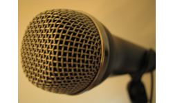 photograph of old microphone